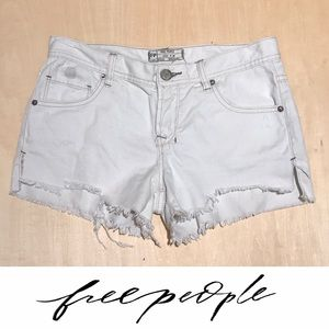 Free People Raw Hem Bleached Out Denim Shorts